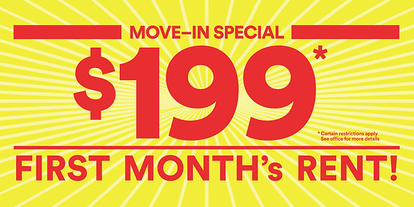 $199 First Month's Rent Banner-English