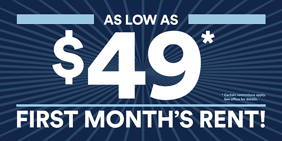$49 First Month's Rent Banner