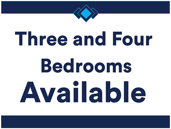 3 & 4 Bedrooms Available