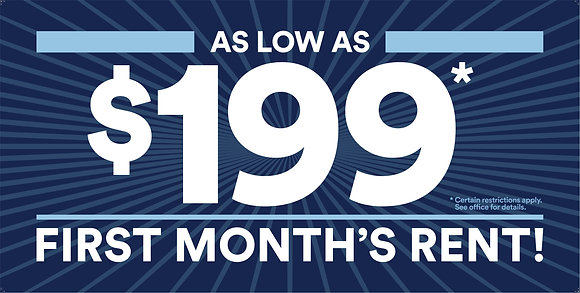 $199 First Month's Rent Banner