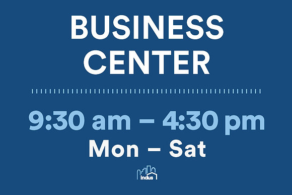 Business Center with timings
