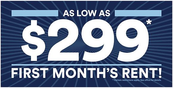 $299 First Month Banner