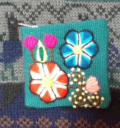 Coin Purse  Andean Floral Design.