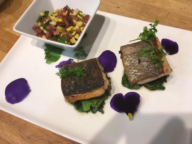 salmon w/ rhubarb relish