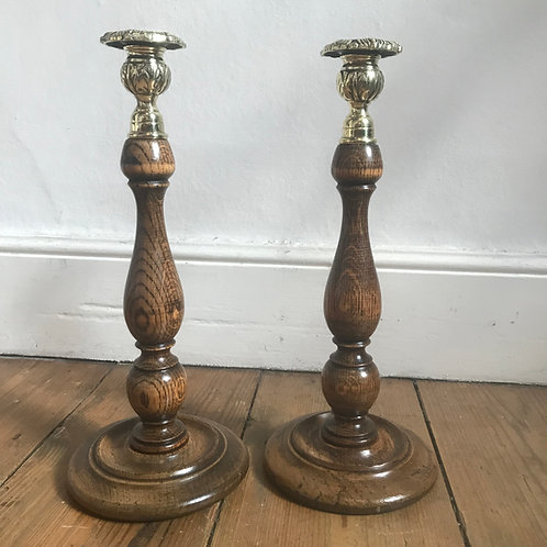Wooden Candle Sticks with Brass Sconces