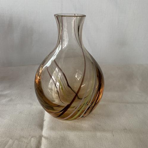 Amber Swirl Caithness bud vase