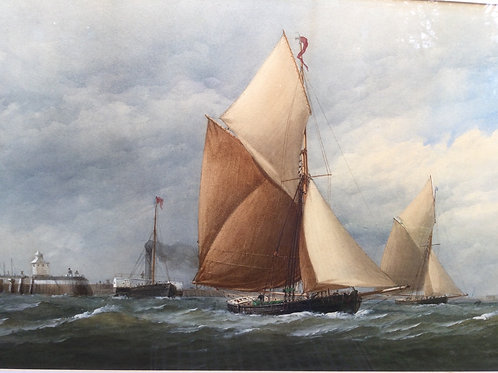 """Shipping off Portsmouth"" by Charles Taylor the younger"