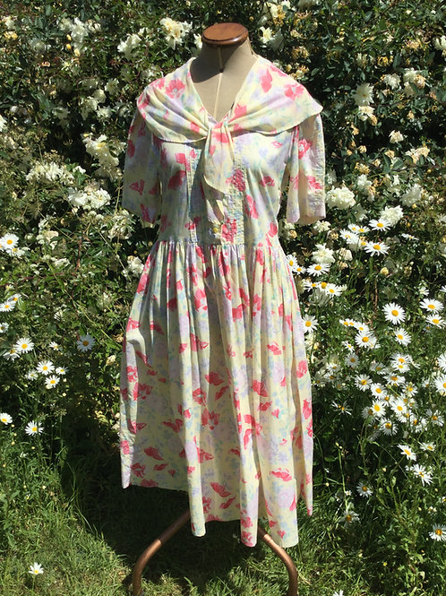 Pretty vintage Laura Ashley yellow floral cotton dress