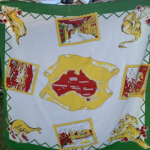 1950s Australian Cotton Tablecloth