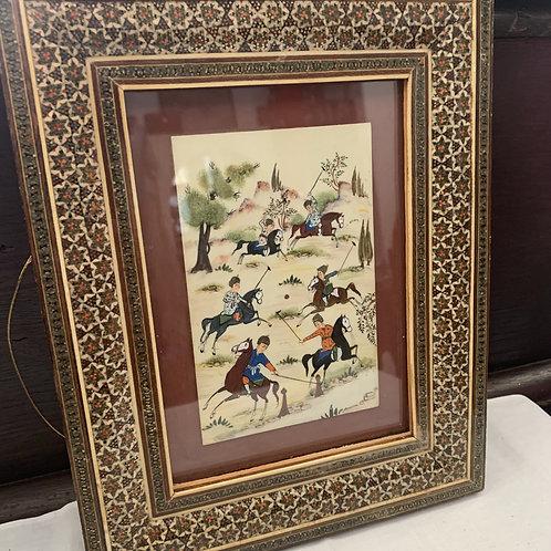Antique Original Gouache Painting - Iranian Polo Match