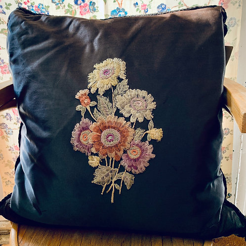 Black Satin Hand Embroidered Cushion