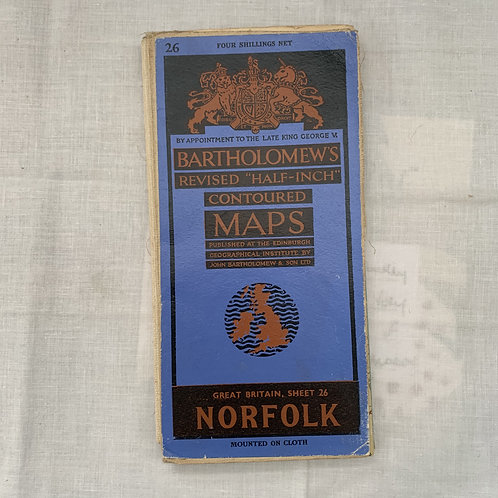 Bartholomews Cloth Map Norfolk