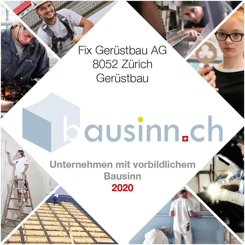 Fix Gerüstbau AG ist ein Unternehmen mit vorbildlichem Bausinn (Bausinn Award 2020)