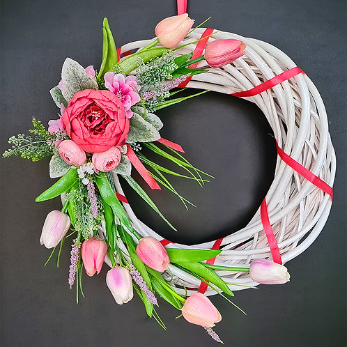 """Faux Floral Door Wreath """"Improvisation II. White and pink"""""""