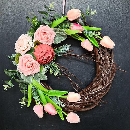 "Faux Floral Door Wreath ""The Peach Roses"""