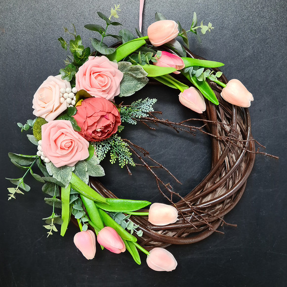 Spring Door Wreath The peach roses and t
