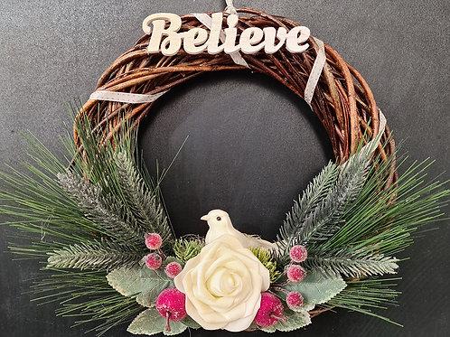 """Christmas Door Wreath """"Believe"""""""