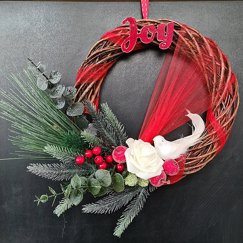 """Christmas Door Wreath """"Joy"""""""