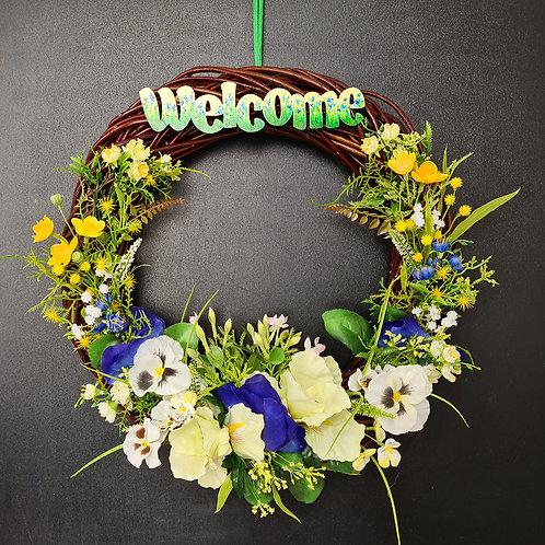 "Faux Floral Door Wreath ""The Wild Flowers"""