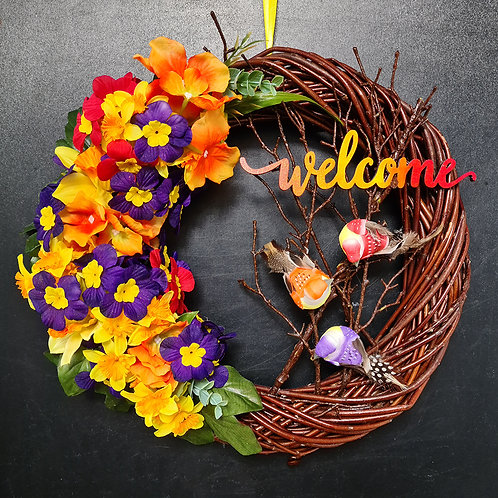 "Faux Floral Door Wreath ""The Primula flowers"""