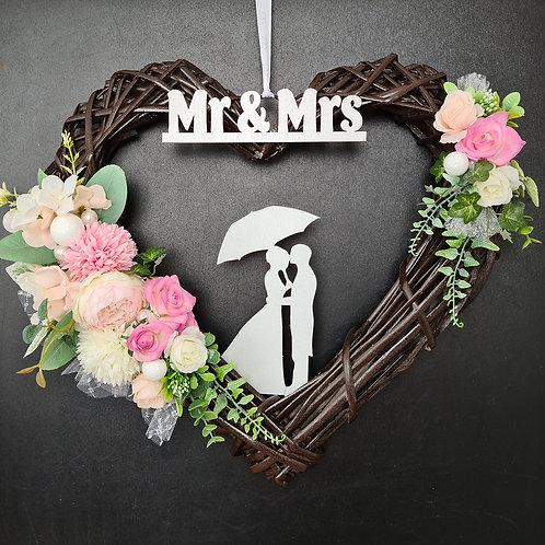 "Wedding Faux Floral Wreath ""Mr & Mrs"""