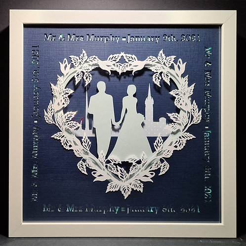 """Custom made shadowbox """"Mr & Mrs"""""""