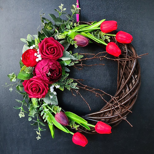 "Floral Door Wreath ""The Red Roses and Tulips"""