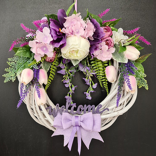 "Faux Floral Door Wreath ""Improvisation. Iris Aphylla"""