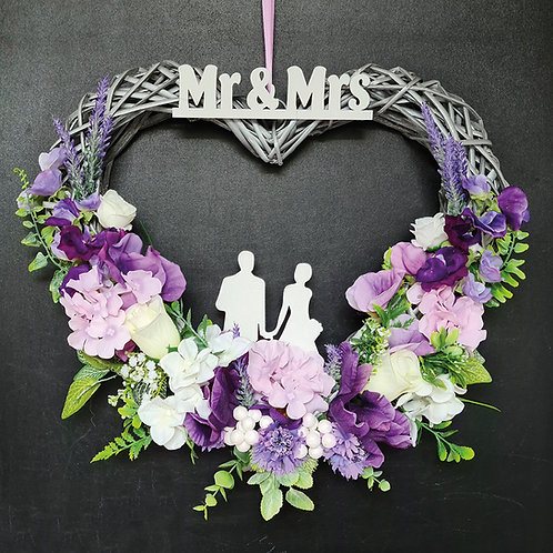 "Wedding Faux Floral Wreath ""Mr & Mrs. Violet & Lilac"""