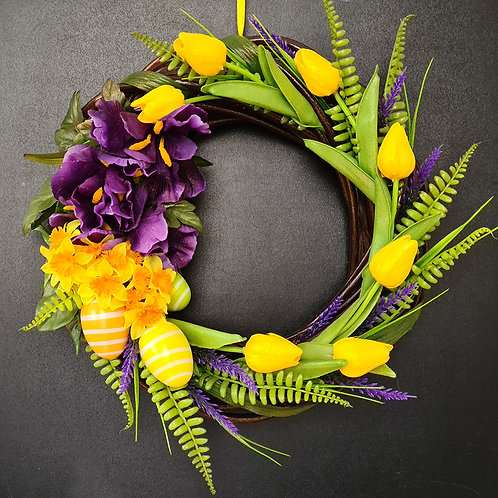 "Faux Floral Door Wreath ""The Yellow Tulips"""