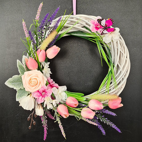 "Faux Floral Door Wreath ""Improvisation. White and pink"""