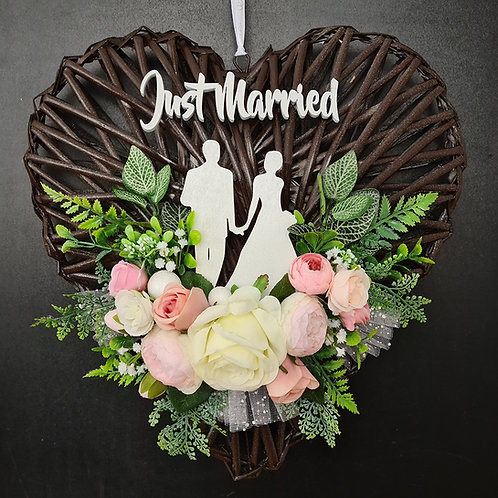 """Wedding Faux Floral Wreath """"Just Married"""""""