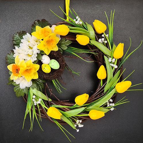 "Faux Floral Door Wreath ""The cosy nest"""