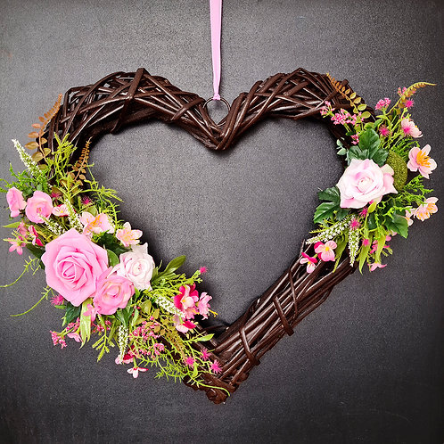 """Faux Floral Door Wreath """"The Roses and Meadow Flowers"""""""