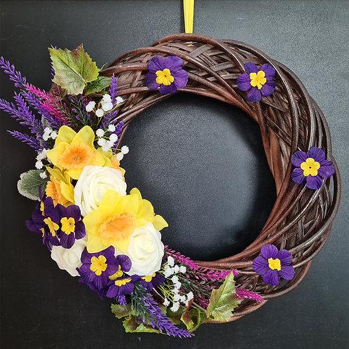 "Faux Floral Door Wreath ""Drömmen om midsommar"""