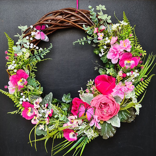 """Faux Floral Door Wreath """"The Pink Pansy Flowers"""""""