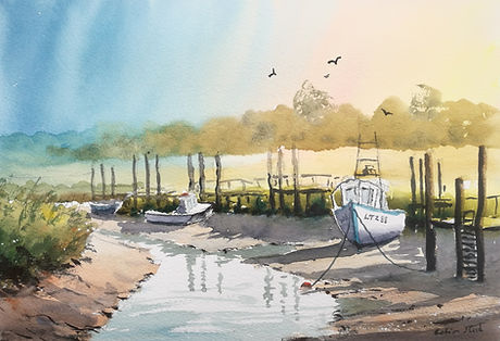 'Autumn Sunlight, Thornham Creak, Norfol