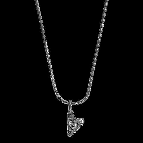 Heart button necklace