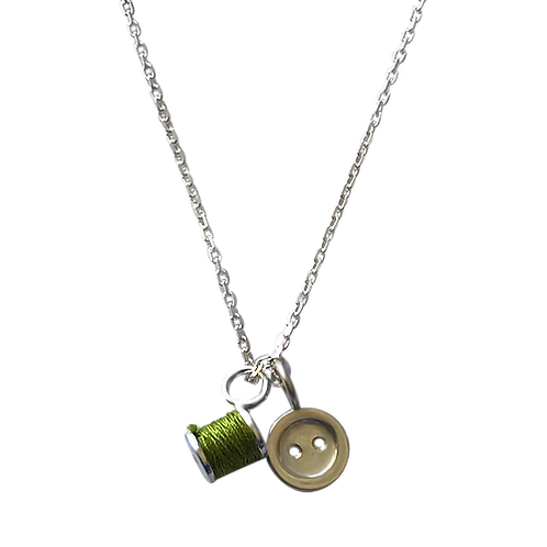 Cotton reel and button necklace