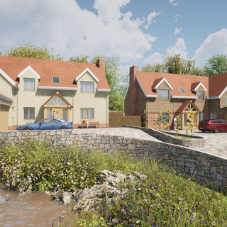 CGI of 2 new detached dwellings in South Hams