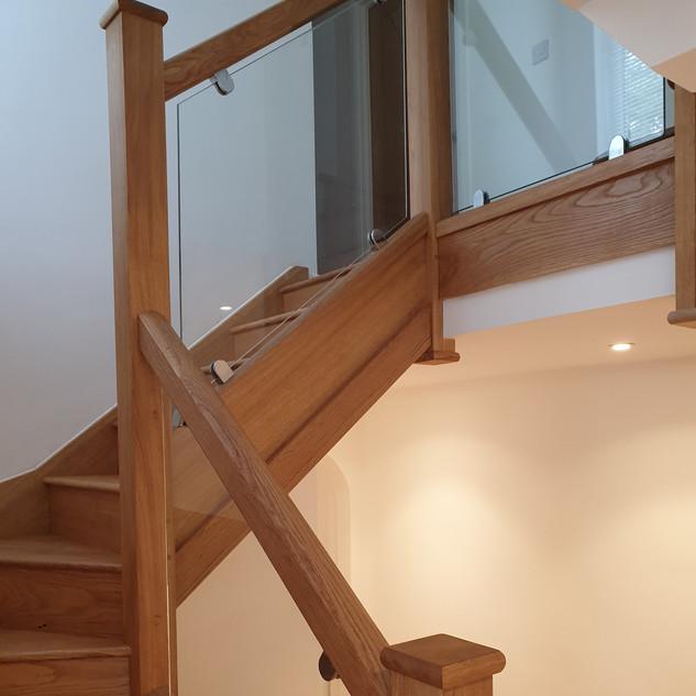 Oak staircase in house refurb on Dartmoor