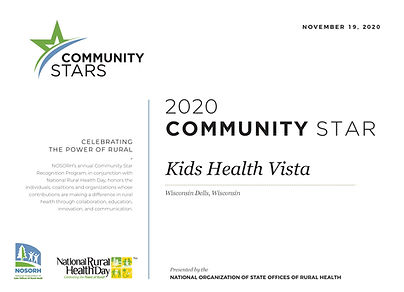 Kids Health Vista Community Stars 2020 C