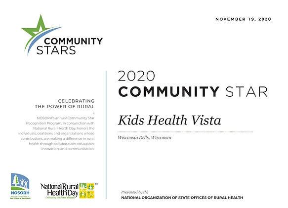 Kids Health Vista Community Stars 2020 C