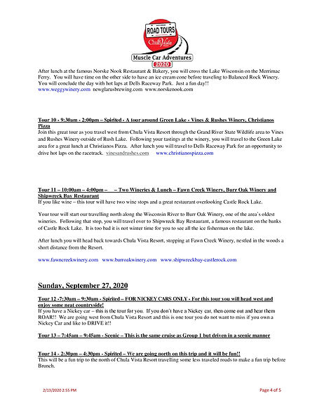 2020 Muscle Car Adventures - Road Tours-