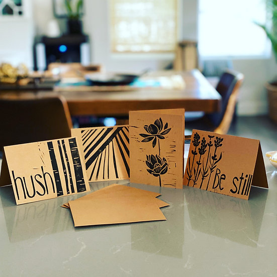 Relief print cards set of 4