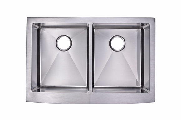 35″ Double Bowl Farm/Apron Sink Rounded Inner Corners AP3522D-RD