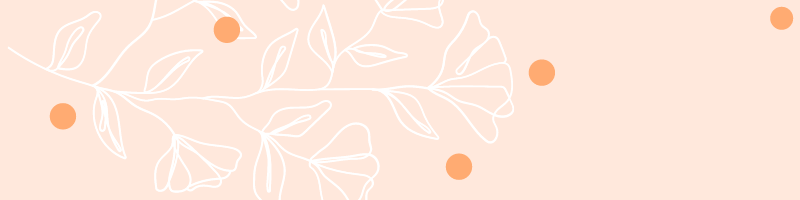 pale orange background with line drawings of plants and dark orange circles