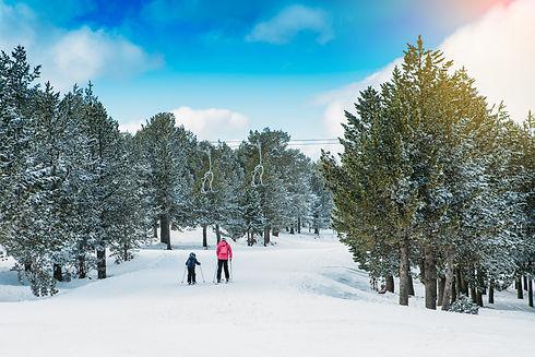 family-practicing-ski-at-the-ski-resort-