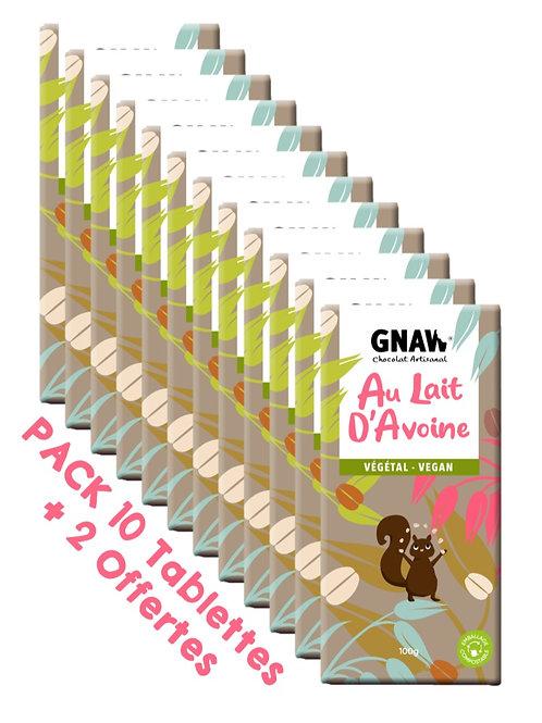 PACK 10 TABLETTES VEGAN AU LAIT D'AVOINE 100GR + 2 OFFERTES (PRÉCOMMANDE)