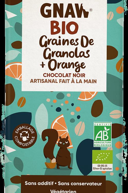 Mon chocolat noir BIO graines de granolas et saveurs d'oranges